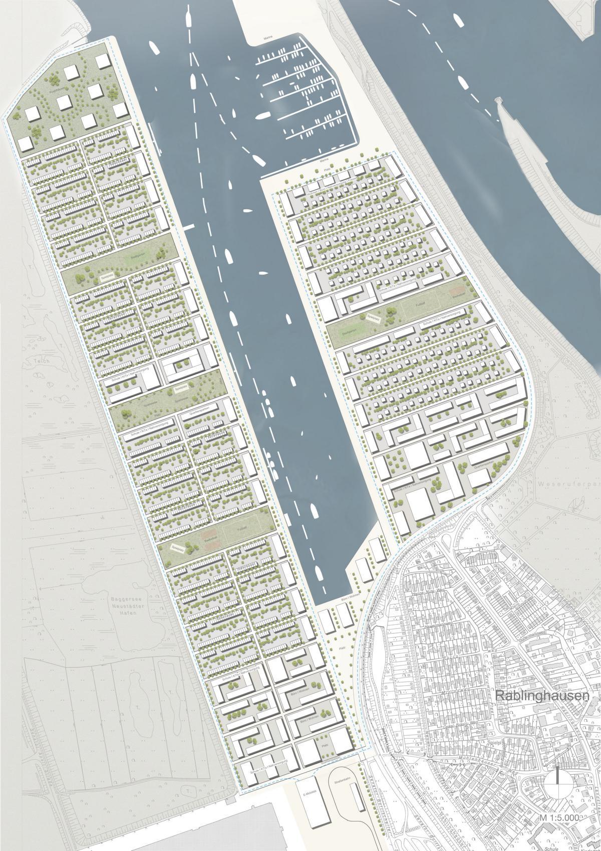 Modell Lageplan Neustädter Hafen