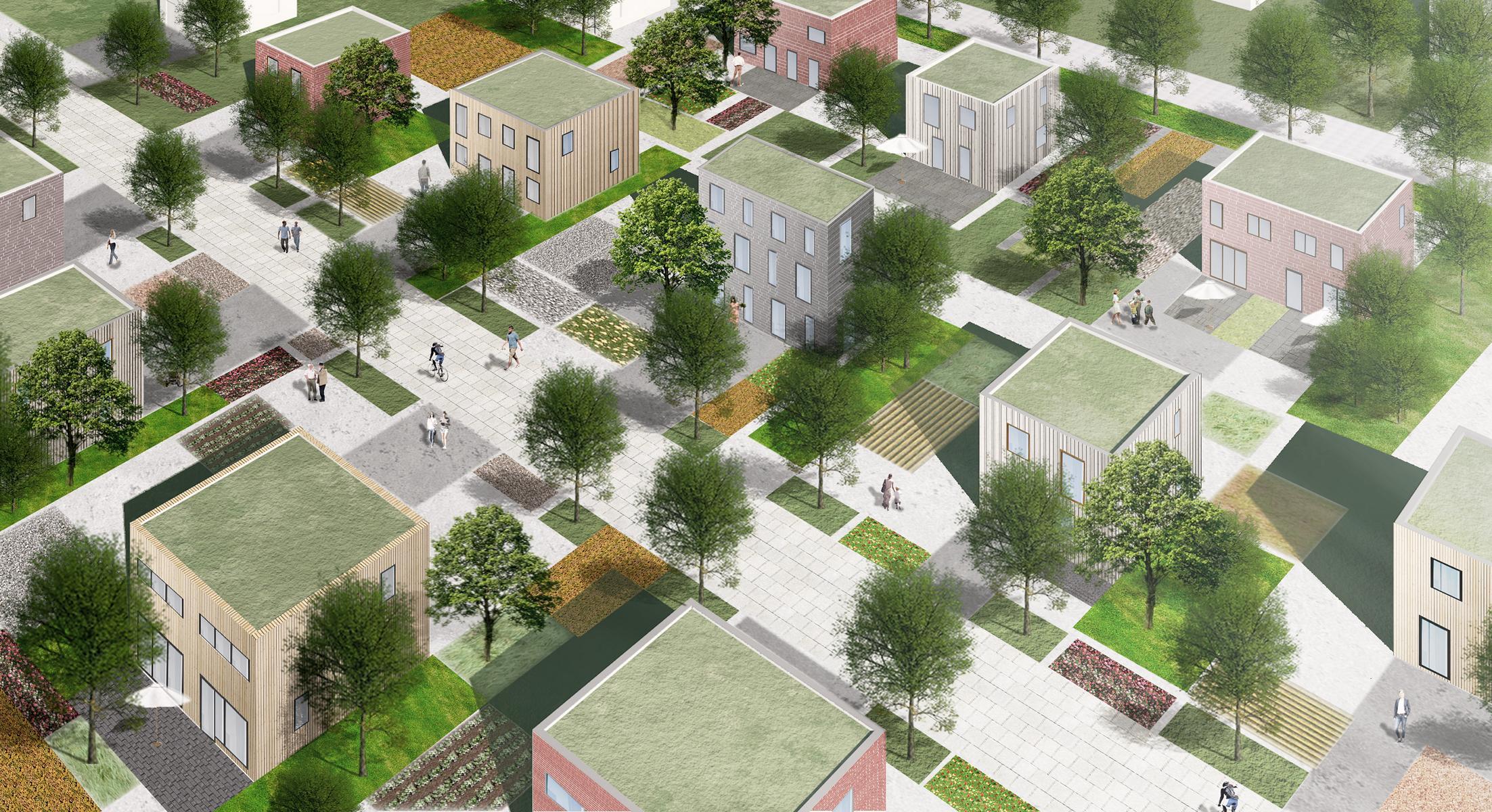 Modell Perspektive Einfamilienhaus Doppelhaus Vogelperspektive
